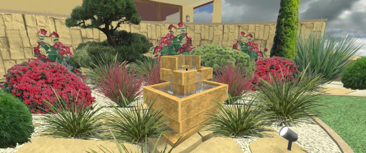 RE1 Rabata słoneczna z fontanną